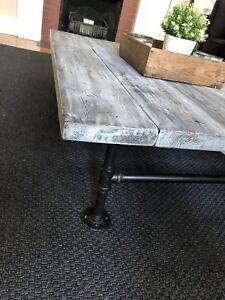 Large Pine Coffee Table on Galvanized Pipe Legs