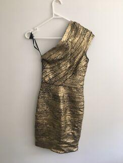 Bariano designer gold dress size 8 EUC