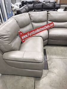New Pewter leather 6Pce stationary sofa sectional 3 colors $3000