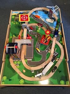 Wooden table top train set