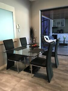 Glass Marble Base Dining Table & Chairs Rrp $3500