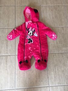 Girls Minnie Mouse pink coverall 0-3 months very good condition