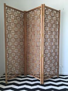 Timber folding screen geometric walnut West Hindmarsh Charles Sturt Area Preview