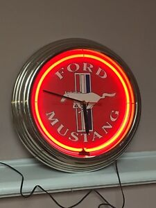 Ford mustang neon red clock man cave garage