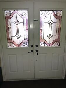 Front doors with stain glass