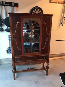 Antique Display Hutch  /  China Cabinet with Linen Drawer