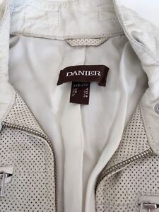 Danier White Leather Perforated Biker Jacket