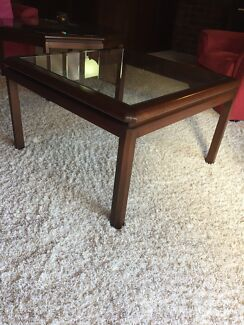 2 x glass top side tables