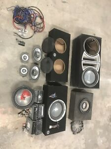 Audio gear lot. Subs, sub boxes, head units