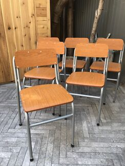 Industrial Retro Vintage Midcentury Timber School Chairs 6x
