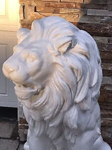 WHITE CEMENT LIONS STATUES