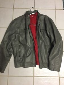 Mens XL Calvin Klein grey leather jacket with removable hood