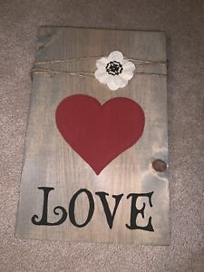 Handmade wooden love sign
