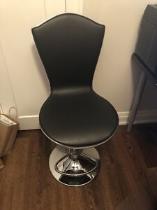 Two Vinyl Hydraulic Island Chairs - Black Vinyl with Chrome Base