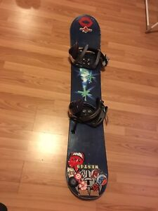 Snowboard package including board, boots and helmet.