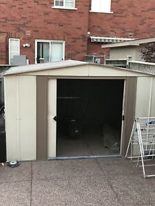 LIKE NEW METAL GARDEN OR BACKYARD SHED ASSEMBLED FOR SALE