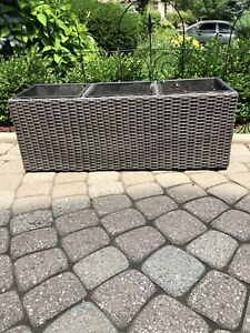 Wicker Outdoor Planters with Containers Excellent Condition