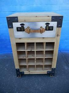 New Industrial Style Rustic Timber Metal Wine Storage Cabinets Melbourne CBD Melbourne City Preview