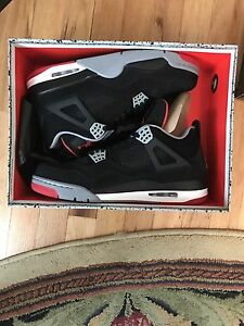 11.5 Air Jordan 4 Retro  (Black/cement grey-fire red) OBO