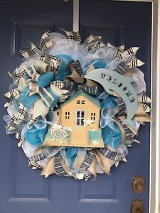 Everyday welcome beach house wreath. Mother's Day gift.