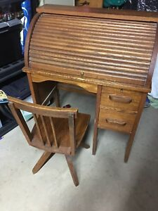 Antique Child's roll-top desk and swivel chair