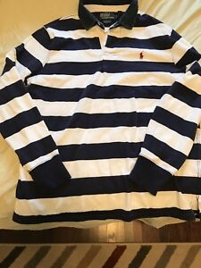 Polo blue white striped Rugby