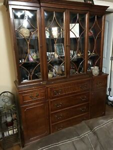 1940 antique bubble glass hutch