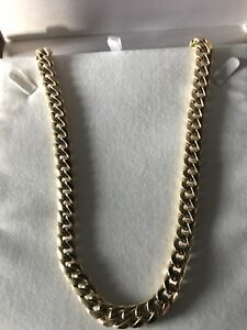"""chaine en or style cuban link  Or 10k,  """"32"""", 12 mm,87.86 gramme"""