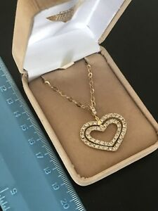 18k solid gold heart pendant and chain