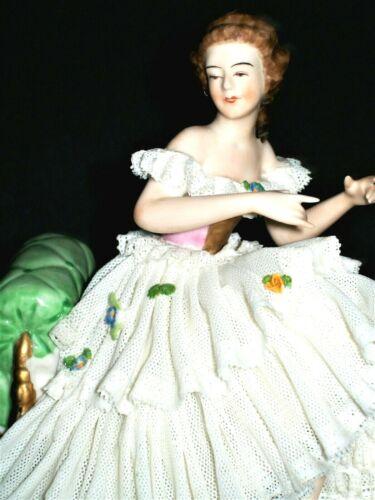 ANTIQUE GERMAN DRESDEN LACE ART DECO LADY BALLERINA DANCER PORCELAIN FIGURINE