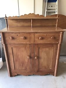 Antique Spool Turned Hutch / Sideboard / Buffet / Cupboard