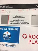 Oilers vs. Flyers tickets for Friday dec 14 th 2018