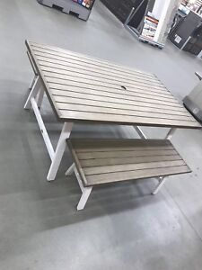 Basic patio table and two benches