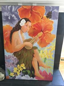 NEW Price DROP!!!!Painting  of Hawaiian lady with ukulele.