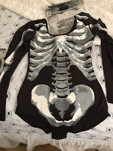 Skeleton body suit costume adult small