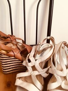 MICHAEL KORS SUMMER HEELS 7&7.5 BROWN AND WHITE