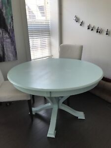 Painted Light Blue Wooden Dining Table