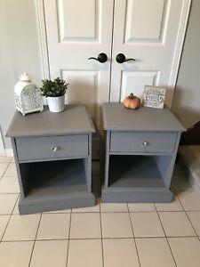 Refinished pair of bedside tables
