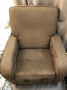 MICROSUEDE GLIDER ROCKING CHAIR with fold out leg rest