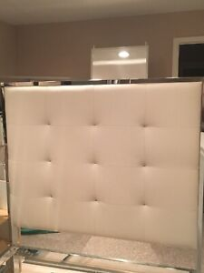 EQ3 real leather headboard and bed frame