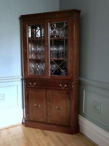 Corner china cabinet or display cabinet, solid wood