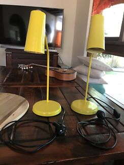 2 x Yellow Industrial Bedside Lamps