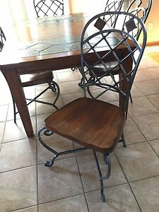 Sturdy kitchen table and six chairs