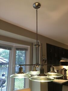 Silver hanging 'card table' light