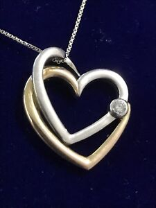 """Double Heart Pendant with 0.050ct diamond/19 1/2"""" necklace"""