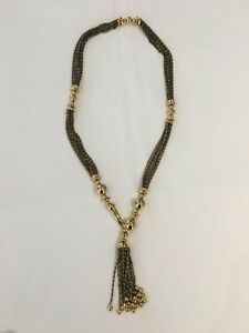 Stella and Dot tassel necklace gold