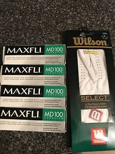 4 sets of golf balls and gloves (brand new)