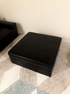 Black Leather Ottoman with Big Storage