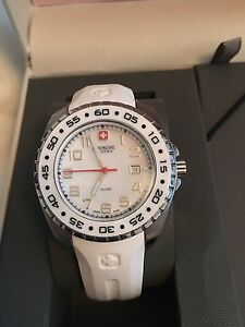 Swiss Army woman's watch in white rubber band