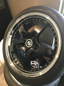 Brand New tires and Five spoke black and chrome wheels